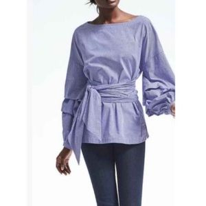 BANANA REPUBLIC Ruffle Sleeve Gingham Wrap Blouse